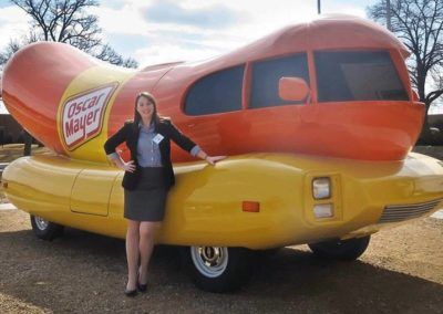 Molly with Oscar Mayer Weinermobile